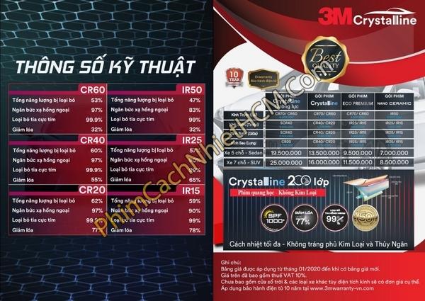 giá phim cách nhiệt 3M Crystalline 1